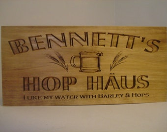 Personalized Bar Sign, Wood Carved Sign, MAN CAVE sign, Beer, GROOMSMAN Gifts, Fathers Day Gifts, Established Signs, Home Bar Benchmark Sign