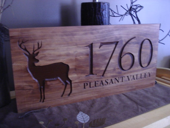 Wood Carved Address Plaque Rustic Family Last Name Welcome