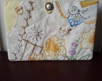 Vintage Quilted Doily Clutch *Upcycled* Hand Embroidery Victorian