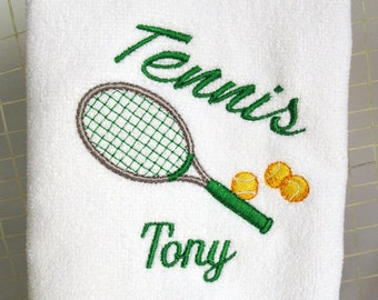 Personalized Tennis Towel - Tennis Gift - Tennis Towel -Tennis Racket & Tennis Balls in Green and Gray #013