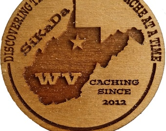 12 Personalized Geocaching Wood Tokens With State and Geocache Name