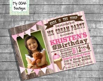 Ice Cream Birthday Party invitation pink icecream party vintage photo invite digital printable invitation 13225