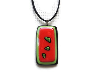 fused glass necklace,red green glass pendant necklace,red fused necklace,red green black fused glass necklace, dichroic glass fused necklace