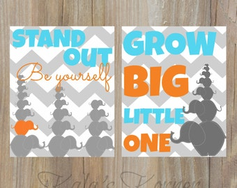 Nursery art- elephant nursery, orange turquoise gray, grow big, be yourself, playroom art, stand out, children wall art