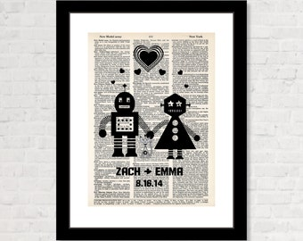 Personalized Robot Couple and cat with Name and Date Wedding, Shower, Anniversary, Couples Gift, Valentines Day Gift dictionary print  Geek