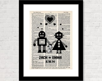 Personalized Robot Couple and Dog with Name and Date Wedding, Shower, Anniversary, Couples Gift, Valentines Day Gift dictionary print  Geek