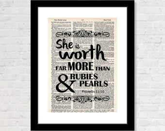 She is Worth Far More Than Rubies and Pearls Proverbs 31:10 - Dictionary Art Print - Inspirational Quote - Bible Quote