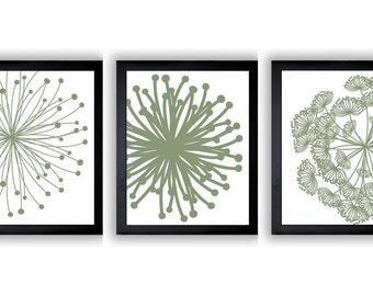 Avocado Green Flower Print Flowers Dandelion Set of 3 Art Prints Wall Decor Bathroom Bedroom Modern Minimalist