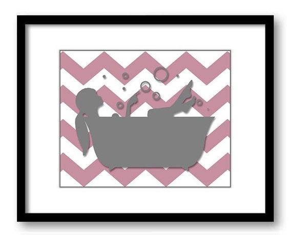 Bathroom decor bathroom print rose pink and grey chevron girl for Pink and grey bathroom accessories