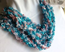 """Pink & Turquoise Knit Infinity Scarf in Ladder/Ribbon Yarn """"Maxi"""" (Cotton Candy)"""