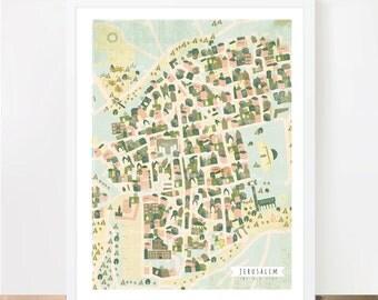 Jerusalem map, poster, wall art