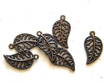 6 Copper Filigree Leaf Charms