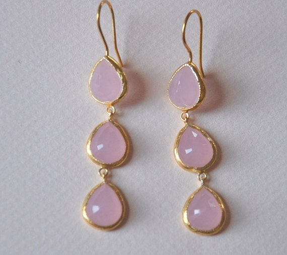 Pink Quartz Faceted Gemstone 22k Gold Plated Sterling Silver