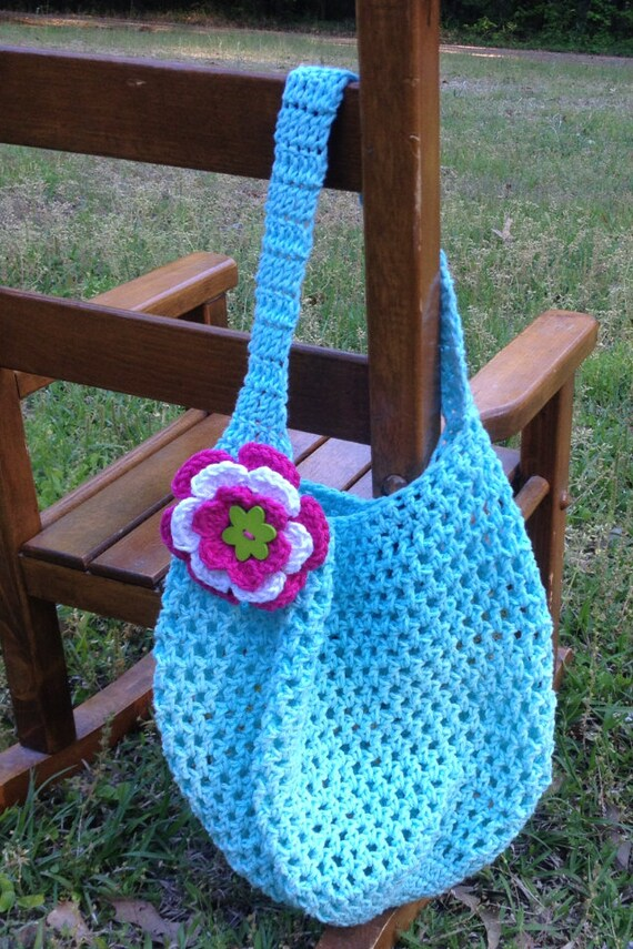 Crochet Kids Tote Bag Beach Bag Book Bag by KranzleysKreations