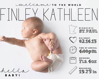 custom designed infographic style baby announcement, digital file