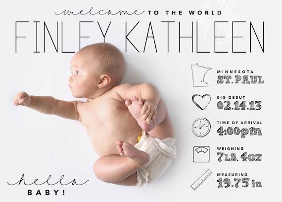 custom designed infographic style baby announcement digital – Custom Baby Announcements