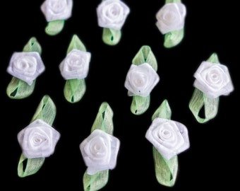 Miniature Sheer White Coiled Ribbon Rose Buds