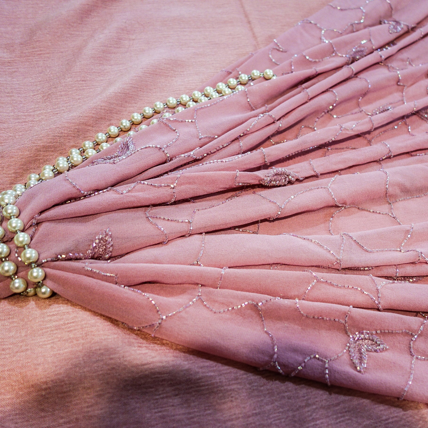 pink silk georgette fabric with beaded floral abstract