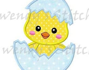 Easter chick in an egg applique machine embroidery design digital pattern