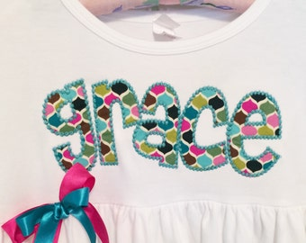Name Dress Personalized with Initial- You Choose Dress Color and Sleeve Length