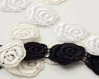 Venise Flower Lace Ribbon Trim for bridal, apparel, home décor, 1 Inch by 1 Yard, BAT-5160/1