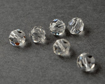 4mm/6mm/8mm Swarovski Crystal Round Beads 5000, Crystal, SW-5000