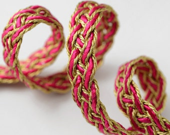 2 yards Metallic Braid Trim for Costume, Crafts and Sewing, 1/2 Inch, Fuchsia, Turquoise, ANUH-S-262