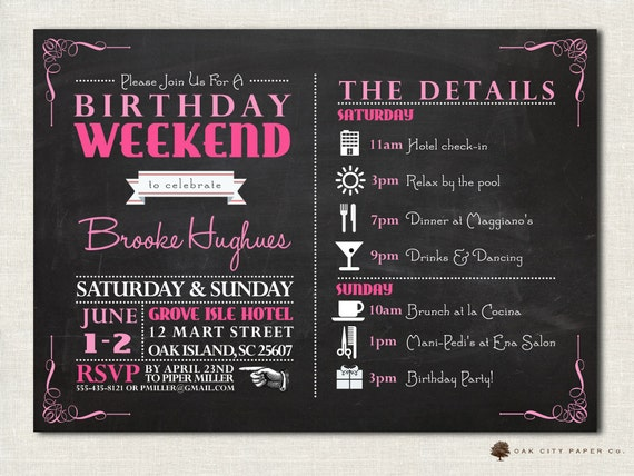 Birthday party invitation with itinerary birthday weekend like this item stopboris Image collections