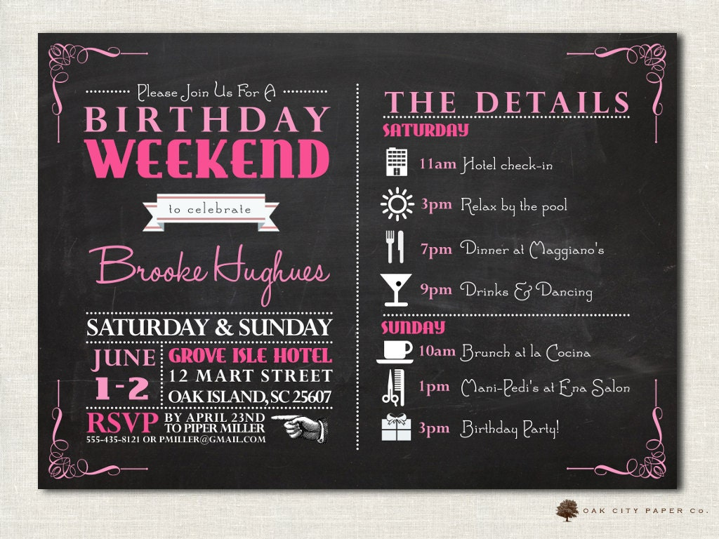 Birthday Party Invitation with Itinerary Birthday Weekend – Weekend Scheduled Template