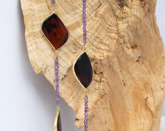 So Pretty! Sliced Agate and Amethyst necklace,long and beautiful!