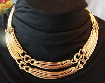 Vintage GIVENCHY BOLD and Spectacular Gold Tone Necklace,Signed!