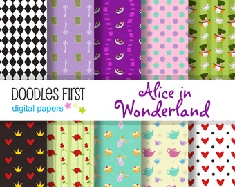 Alice in Wonderland Digital Paper Pack Includes 10 for Scrapbooking Paper Crafts
