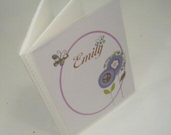 Girl Photo Album, Baby Album Purple Brown flower, Personalized Brag Book, Baby Photo Album, baby gift 105