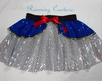 Donald Duck inspired white and royal sparkle  Running Women's round skirt.  costume  gold sequins, red bow. Daisy