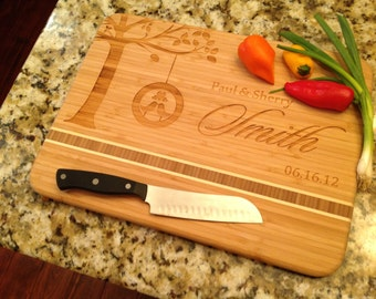 "Wedding Personalized Cutting Board, Custom Engraved 11""x15"" Bamboo for wedding gift, anniversary gift, housewarming gift"