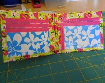 Flamingos, Blue Surf, and Fuchsia Duct Tape Wallet