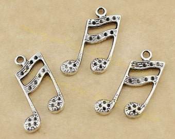 10 PCs - Music Pendant, Music Symbol, Music Note, Sixteenth Note, Semiquaver, Double croche, DIY Supplies, Jewelry Making Findings, 27*18MM