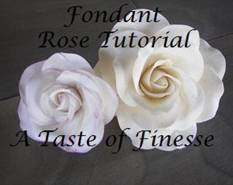 PDF Tutorial How to make a fondant Rose Instant Download, Step-by-step instructions, cake decorating tutorial, cake decorating instructions
