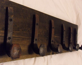 """Free Shipping 6 Antique Hook Old Railroad Spike Art """"Black Ebony"""" Vintage Coat Hat Rack Strong Shelf Shop Set Hand Made Hammered Blacksmith"""