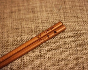 Free Shipping - Wedding Favor - Personalized Engraved Eco Friendly Bamboo Chopsticks