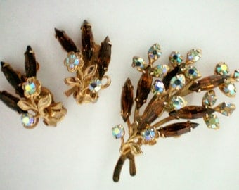 Deep Brown and AB Rhinestone Brooch & Earrings - 2361