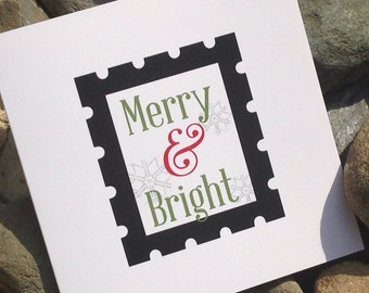 Christmas Cards, Holiday Card Set, Personalized Christmas Cards - Merry and Bright Stamp