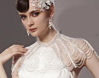 gatsby jewelry vintage wedding 1920s swarovski bolero collar bridal bridesmaid statement crystal shoulder old hollywood wedding