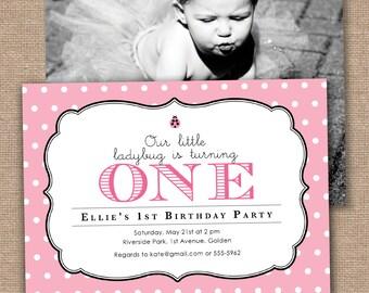 Girl First Birthday Invitation, Little Ladybug, Pink and Black, DIY Printable