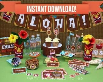 Hawaiian Luau Birthday Party Printable Collection & Invitation - Editable PDF file - Print at home