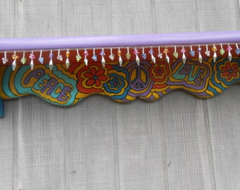 Hand-painted colorful 70's themed , boho or hippie shelf