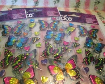 Three pack of dimensional stickers Butterflies and hearts 3 dollars