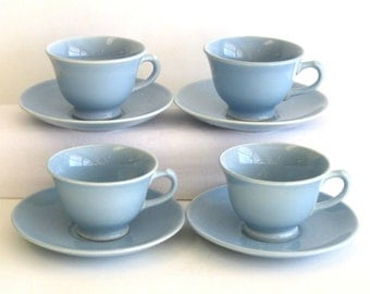 Luray Windsor Blue Cup and Saucer x 4