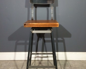 Reclaimed Wood Bar Stool - Swivels - With Steel Back - Salvaged Barn Wood - Industrial Modern - FAST Shipping
