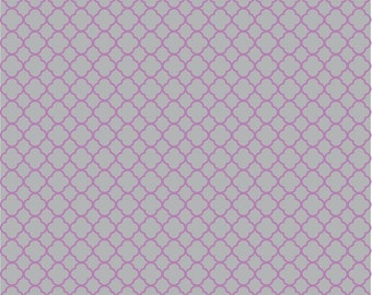 Gray and orchid quarterfoil craft vinyl sheet aluminum grey (non-metallic) with orchid purple clover quatrefoil pattern HTV525